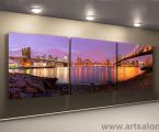 Модульная- фото-картина-ночной-Нью-Йорк-мосты-60х180-см 40 у.е. (форма оплаты любая)