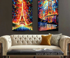 Hot-2-Panel-Artists-painting-Works-Building-Eiffel-Tower-Canvas-Art-Oil-Painting-Home-Decor