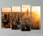 Modular picture of sunset in the big city