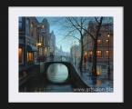 City rain. Размер 65х55 см. цена 10 у.е. рамка дерево, картина под стеклом