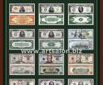 Постер доллары США 60х82-см Постер в рамке из натурального дерева, под стеклом, все купюры имеют оригинальный размер, Постер хорошо украсит любой интерьер (продается файл для печати в высоком разрешении)