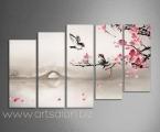 Sakura and bird. Размер 80х140 см. (размер можно сделать больше) цветы украшены мелкими стразами (по желанию) цена 40 у.е.