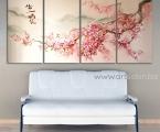 Sakura painting, size 68x150 cm. Наши модульные картины сделаны на панелях МДФ они легкие, объемные (толщина 2 см. Они крепкие и безопасные в отличии от картин на стекле (стекло хрупкое, тонкое и тяжелое, картины сильно блестят и имеют дешевый вид, так же стекло это хрупкий и опасный материал) на стекле делают потому что это дешево и быстро (на кусок стекла клеют Китайскую самоклейку) нНши модули делать сложно, нужны специалисты по мебельной работе и станки. Картины на орг стекле и акриле тоже имеют свои минусы, они мутнеют со временем и выделяют вредные вещества в теплое время. Даже самая качественная печать со временем выцветает, она становится бледной, а солнечный свет только ускорит этот процесс, поэтому наши картины покрываются защитным лаком, другие производители после печати делают ламинацию (эта пленка делает картину не резкой и не защищает от солнечного света) Наши картины и фото всегда яркие, резкие не боятся воды и долгие годы будут радовать вас. Из-за отсутствия блеска матовые картины выглядят более сдержанно и очень солидно. (Вот что пишет дизайнер из компании Apple, я больше предпочитаю матовые картины, глянец и стекло категорически не приемлю, мой выбор обусловлен тем, что глянцевые картины дают сильные блики и на них смотришь как в зеркало, где видно помещение и твое изображение, матовые картины можно смотреть независимо от того как и откуда свет падает на нее)