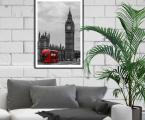 Черно-белый-Лондон-красный-автобус-размер 60х90-см