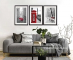 Modern 3 Framed Posters Black White and Red