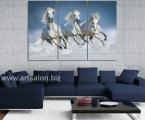 3 white horses running. Размер 100х150 см. цена 35 у.е.