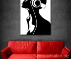Girl with headphones, size 60x85 cm 15 у.е.