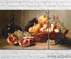 Натюрморт- репродукция- гранат-фрукты-размер 70х140-см