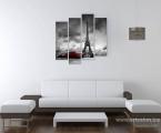 Черно-белая-модульная-картина-город-Париж