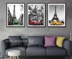 3 Paris Panels, dimensions 60x60 cm