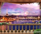 Ночной Париж. размер 60х100 см (можно сделать модульную из частей)