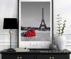 Paris and flowers. Постер в рамке из натурального дерева. размеры могут быть любые от А-4 до 60х100 см.