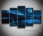Night, moon, mountains, lake, size 90x170 cm