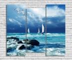 Море, парусник, чайка триптих