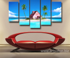 5-Pieces-Cartoon-Dragon-Ball-Seaside-Pink-House-Modern-Home-Wall-Decor-Canvas-Picture