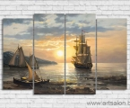 Beautiful ship painting in the sea size 80x130 cm