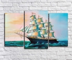 Beautiful ship painting in the sea
