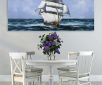 Decor for the wall, ship, size 60x100 cm