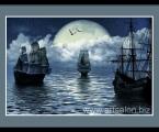 Korabli_Noch_More_Luna_70X50_cm (можно сделать в рамке или на планшете без рамки, ночное небо можно украсить стразами)