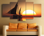 Modular-Pictures-Modern-Canvas-Printed-5-Piece-Pcs-Sun-Sea-Ship-Scenery-Home-Decor