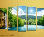 Waterfall 01 Модульная картина под матовым или глянцевым как стекло лаком. Высота средней части 97 см ширина картины 170 см. Цена 40 у.е.