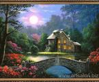 Пейзаж, ночь, лес, домик