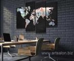 Абстрактная карта мира с изображением денег 4 части