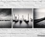 Venice-gondola-black-and-white-3-panel