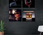 Вино, виски 4 панели 60х60 см