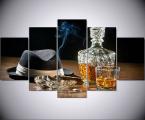 5-Шт-HD-Печатных-Виски-Hat-Сигары-Натюрморт-Картина-Wall-Art