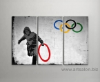 Triptych-wall-art-banksy-stolen-olympic-ring-canva-australi